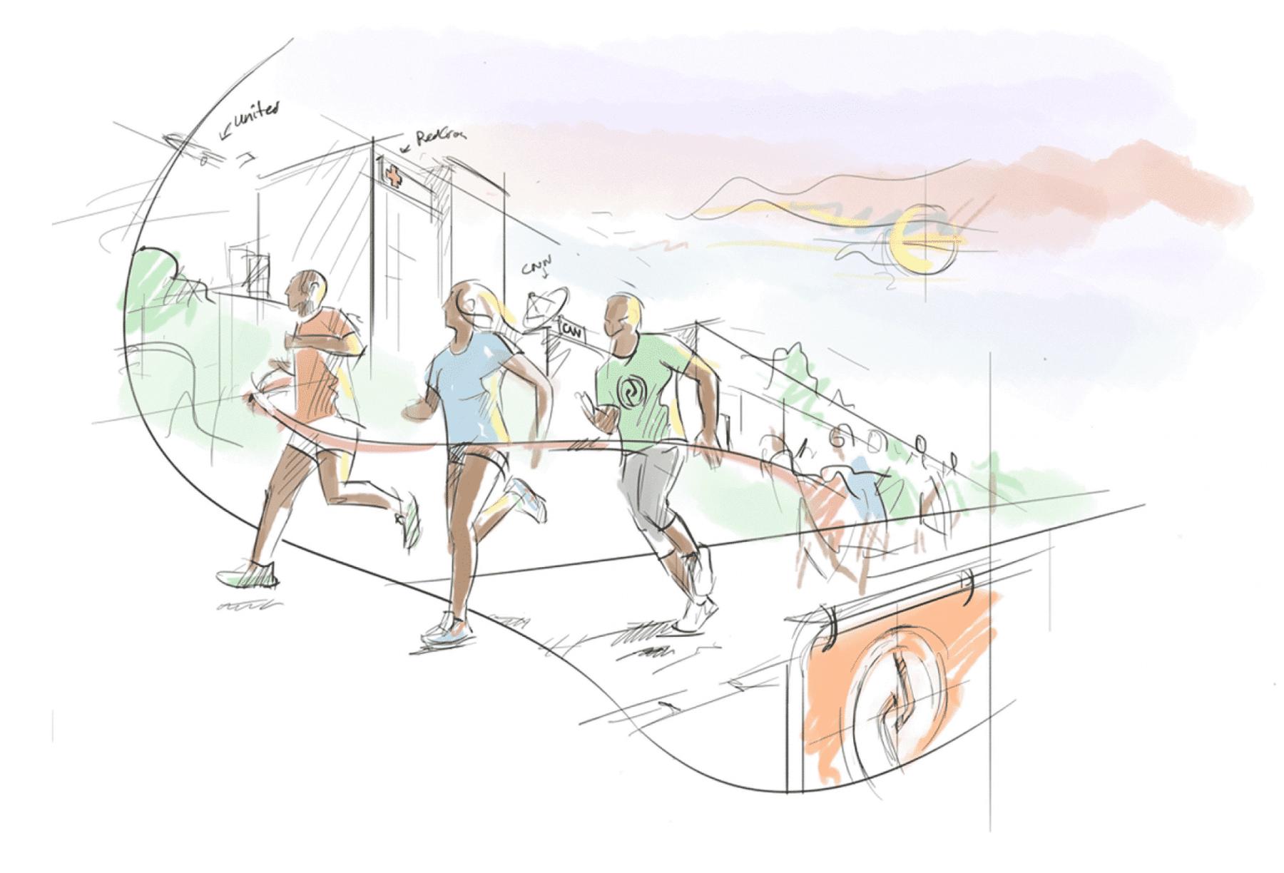 cr sketch people running