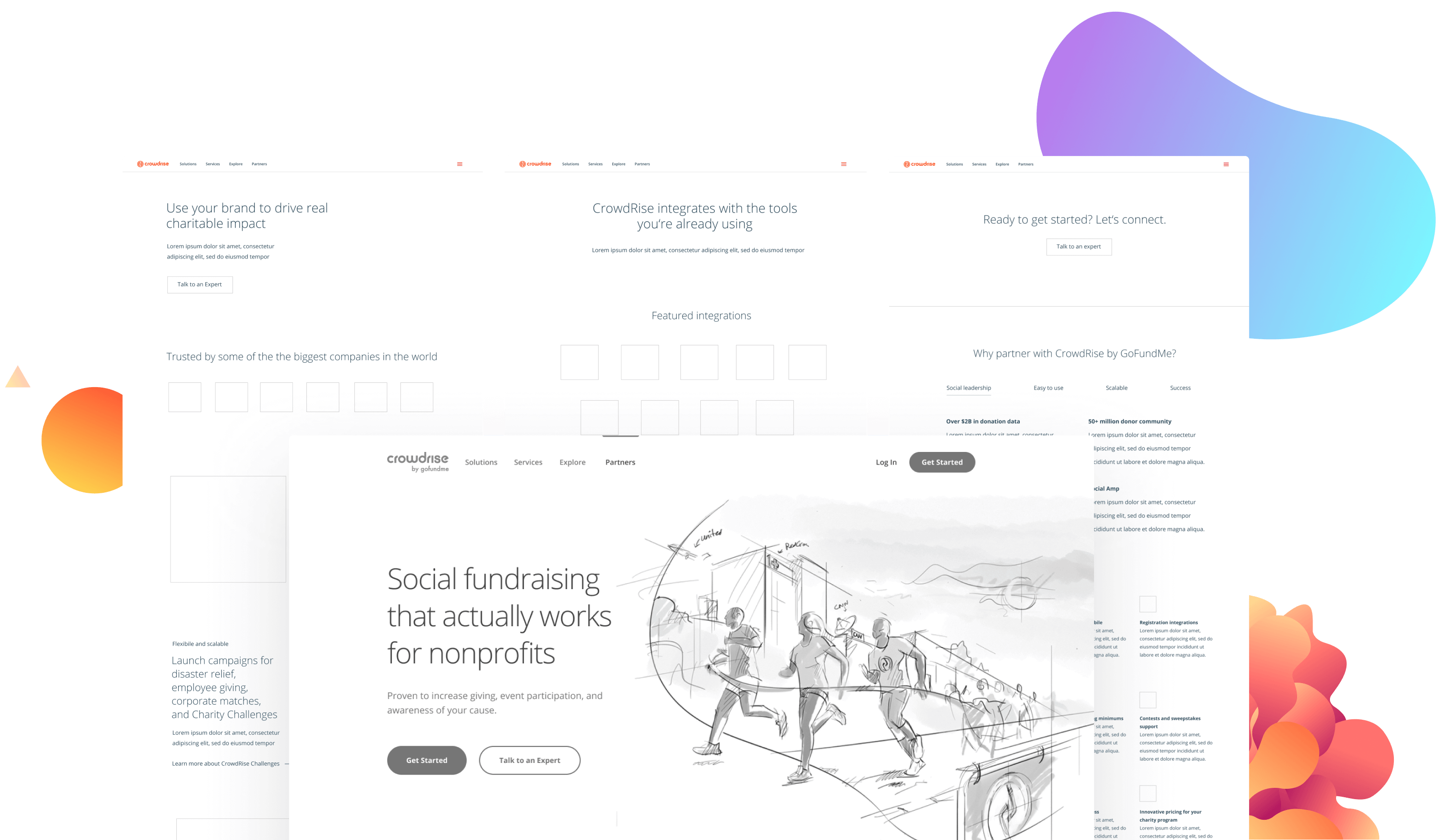 cr wireframes with bg elements